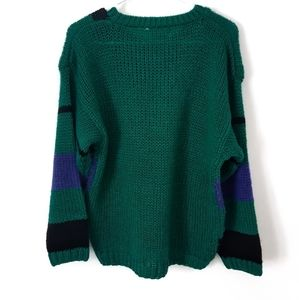 Vintage Sweaters - Vintage Green and Purple Knit Sweater